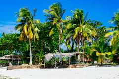 Tropical white sand beach with green palm trees. Exotic island paradise Royalty Free Stock Image
