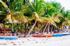 Tropical white sand beach with green palm trees and parked fishing boats in the sand. Exotic island paradise Royalty Free Stock Photo