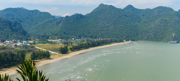 Tropical white sand beach in Khao Sam Roi Yot National Park, Thailand.  Royalty Free Stock Photos