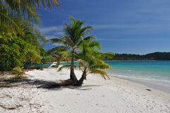 Tropical white sand beach, Koh Rong island, Cambodia Royalty Free Stock Images