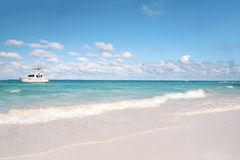 Tropical - White Sand Beach and Ocean Stock Photo