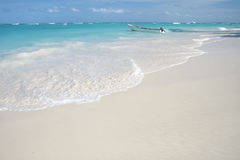 Tropical White Sand Beach and Ocean Background Stock Photography