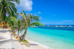 Tropical white sand beach. Philippines, Southeast Asia Royalty Free Stock Image