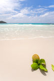 Tropical white sand beach on praslin Stock Photo
