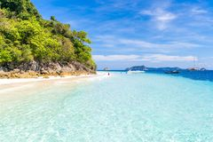 Tropical white sand beach royalty free stock photography