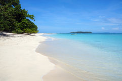 Tropical white sand beach with turquoise water Royalty Free Stock Images