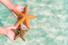Tropical white sand with starfish in hands background the sea Royalty Free Stock Image