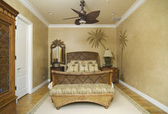 Tropical Wicker Bedroom Stock Photo