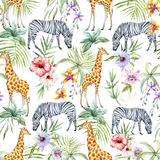 Tropical wildlife pattern stock illustration