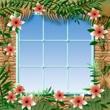 Tropical window view Royalty Free Stock Photos