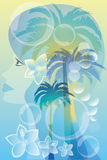 Tropical woman. Abstract illustration with beautiful girl, palm trees, hibiscus flowers and bubbles royalty free illustration