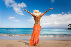 Tropical woman beach. Tropical woman on hawaii beach with blue water Stock Photography