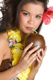 Tropical Woman Drinking Stock Photography