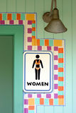 Tropical womens room sign. Tropical womens rest room sign Stock Photography