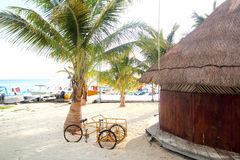 Tropical wood hut palapa in Cancun Mexico Royalty Free Stock Photos