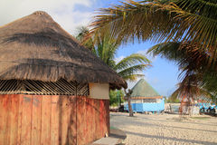 Tropical wood hut palapa in Cancun Mexico Stock Images