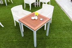 Tropical wooden dinning table on green grass Royalty Free Stock Image