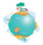 Tropical world. An illustration of an abstract world globe with tropical islands and beaches at the top and bottom royalty free illustration