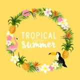 Tropical Wreath. Including flamingo, Palms, Toucans, Bird of paradise flowers and pineapples Royalty Free Stock Image