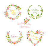 Tropical Wreath Set. Tropical Flowers Floral Tags Royalty Free Stock Image