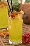 Tropical yellow cocktail. Stock Image
