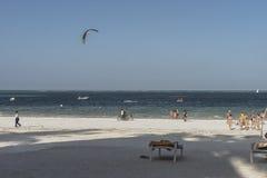 Tropical Zanzibar beach. Place on tropical beach in Kiwenga Village next to the Kiwenga Beach resort  on Zanzibar Island. Tanzania , Africa Royalty Free Stock Photography