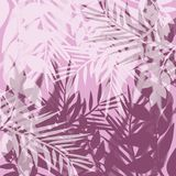 Tropicalpalm leaves illustration in pink. Colors Stock Image