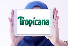 Tropicana logo. Logo of Tropicana juice company on samsung tablet holded by arab muslim woman . Tropicana Products, Inc. is an American multinational company Royalty Free Stock Photography