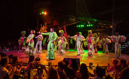 Tropicana musical cabaret. Showtime in Cuba with the whole ensemble of famous Tropicana dancing and singing performance Royalty Free Stock Photography