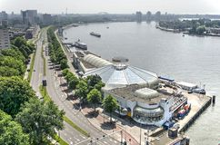 Tropicana and the river. Rotterdam, The Netherlands, June 3, 2018: Tropicana, a former tropical swimming pool from the 1980`s, is being converted to a multi Royalty Free Stock Photos