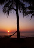 Holiday palace with sunset. At the beach in Thailand at the time of the suns golden rays Royalty Free Stock Image