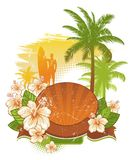 In tropics. Frame & banner with tropical flowers & palms Royalty Free Stock Images
