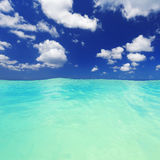 Tropics. Beach on the tropical island. Clear blue water, sand and palm trees. Beautiful vacation spot, treatment and aquatics royalty free stock images