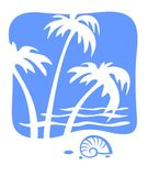 Tropics and cockleshell. Cockleshell and white silhouettes of palm trees on a background of waves Royalty Free Stock Photos