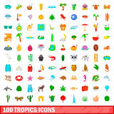 100 tropics icons set, cartoon style. 100 tropics icons set in cartoon style for any design vector illustration Stock Photography