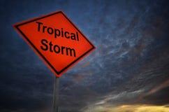 Tropikalna burza ostrzega drogowego znaka ilustracja wektor