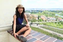 Tropikalna dziewczyna nad winnica w Troja Obrazy Royalty Free