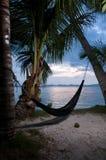 Tropikalna hamak wyspa wieczór widok Obraz Stock