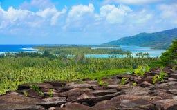 Tropikalna krajobrazowa Francuskiego Polynesia Huahine wyspa obrazy stock
