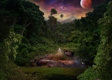 Tropikalna noc w dżungli Lotus, czapla, hipopotam i l, zdjęcie royalty free