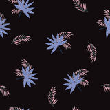 Tropikalna palmowa ręka rysujący liścia bezszwowy wzór Fotografia Royalty Free