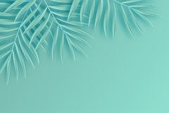 Tropikalna papierowa palma liści rama Lato Tropikalny liść origami royalty ilustracja