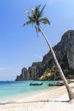Tropikalna plaża i morze z drzewkiem palmowym przy phi phi przywdziewamy wyspę, Tajlandia Zdjęcia Stock
