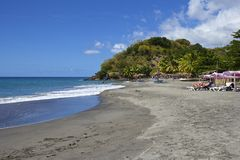 Tropikalna plaża w Dominica, Karaiby Zdjęcia Royalty Free