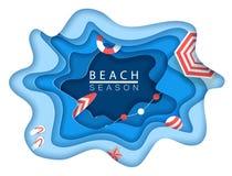 Tropikalna plaża w papierowym sztuka stylu Wektorowego odgórnego widoku papieru rżnięta ilustracja Wakacje letni pojęcia plakata  ilustracji