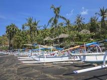 Tropikalna plaża z łodziami rybackimi i drzewkami palmowymi w Bak Fotografia Royalty Free