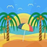 Tropikalna plaża z drzewkami palmowymi i parasolem ilustracja wektor