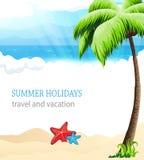 Tropikalna plaża z drzewkiem palmowym ilustracja wektor
