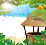 Tropikalna plaża z koktajlu barem ilustracja wektor