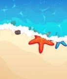 Tropikalna plaża z rozgwiazdą royalty ilustracja
